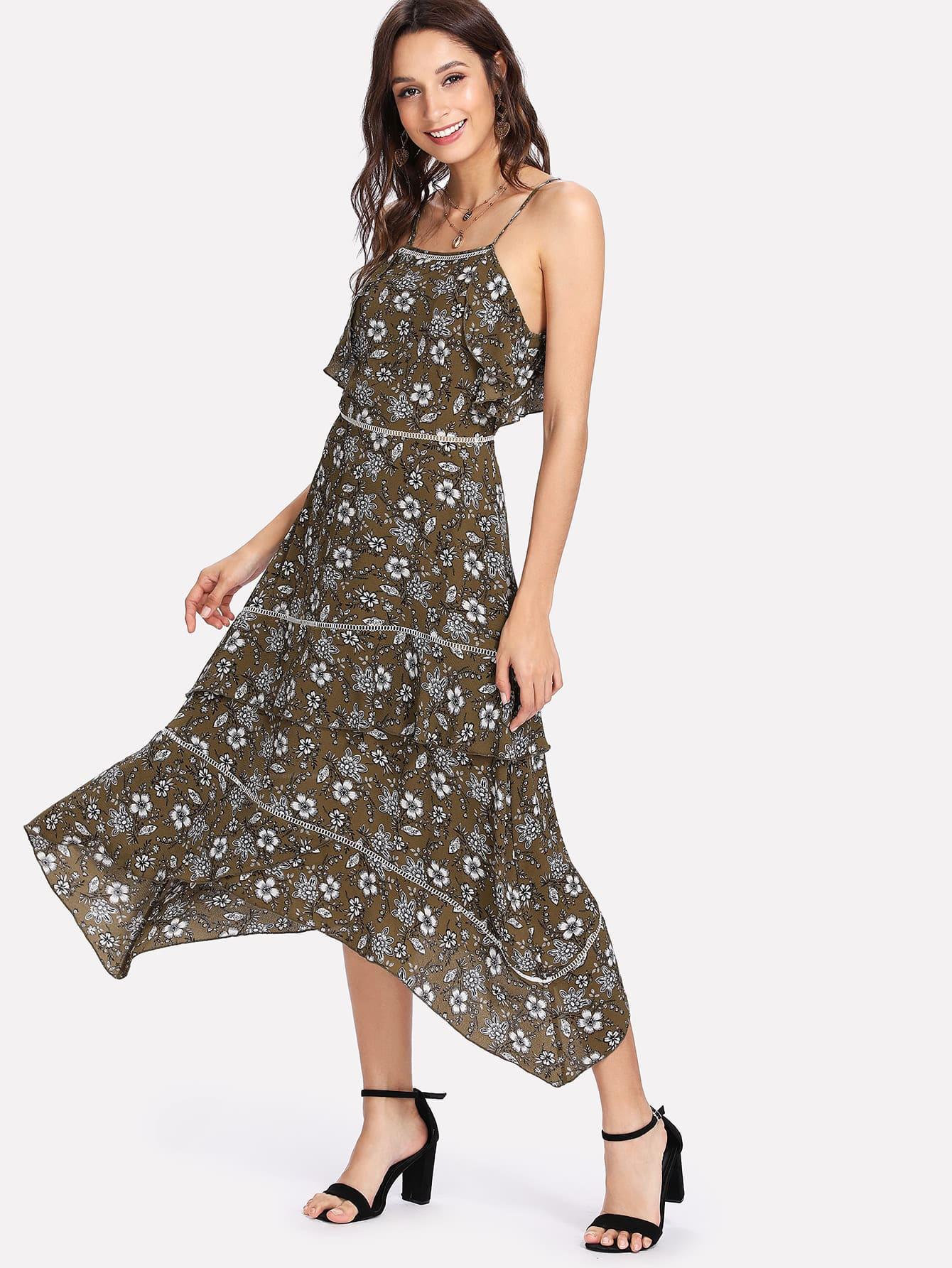 Flower Print Ruffle Trim Asymmetrical Cami Dress ruffle embellished flower print cami jumpsuit