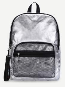 Net Pocket Front PU Backpack