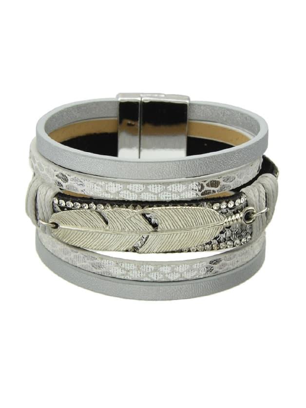 Silver Multilayer Blue Black Pu Leather Wrap Bracelets fashion punk style multilayer pu leather bracelet brown silver