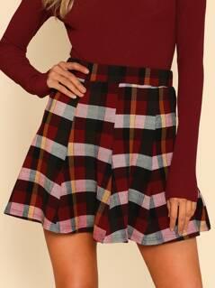 Plaid Print Paneled Skirt