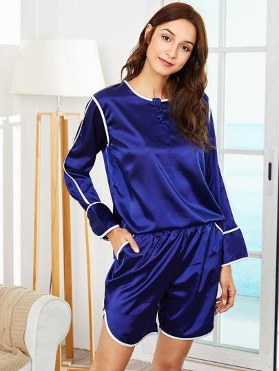 Contrast Binding Top & Shorts PJ Set
