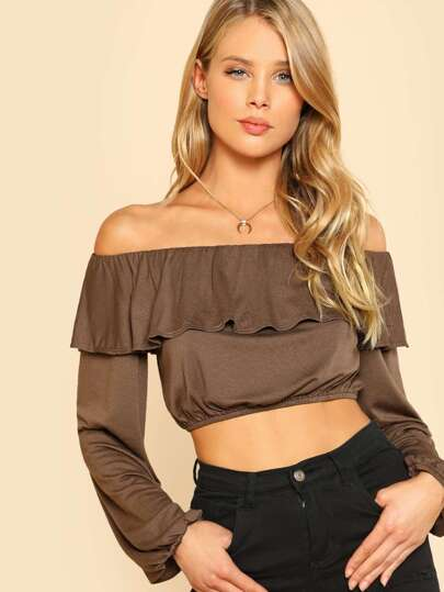 Flounce Layered Neckline Crop Top