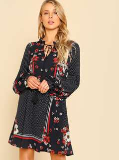 Tied Frilled Neck Mixed Print Smock Dress
