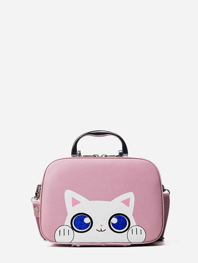 Cat Print PU Shoulder bag
