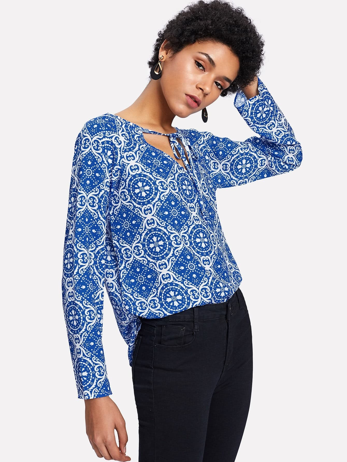 Seamless Porcelain Pattern Tie Detail Blouse pinstriped open shoulder tie detail embroidery blouse
