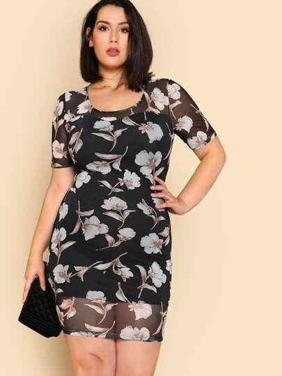 Flower Print Mesh Overlay Dress