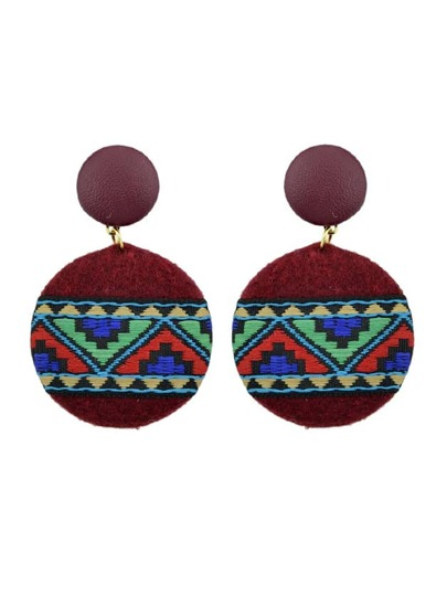 Red Ethnic Style Embroidery Fabric Earrings