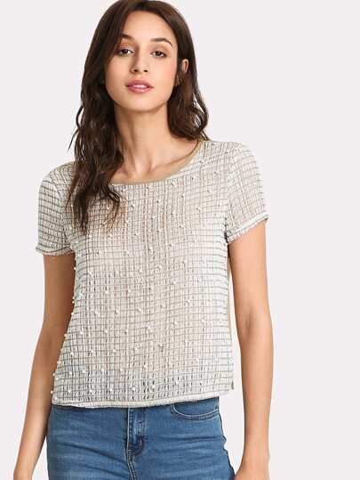 Pearl Beaded Mesh Top