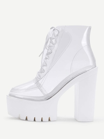 Clear Design Lace Up Ankle Boots