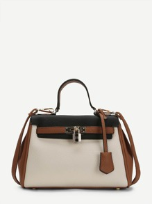 Piping Detail Color Block PU Shoulder Bag