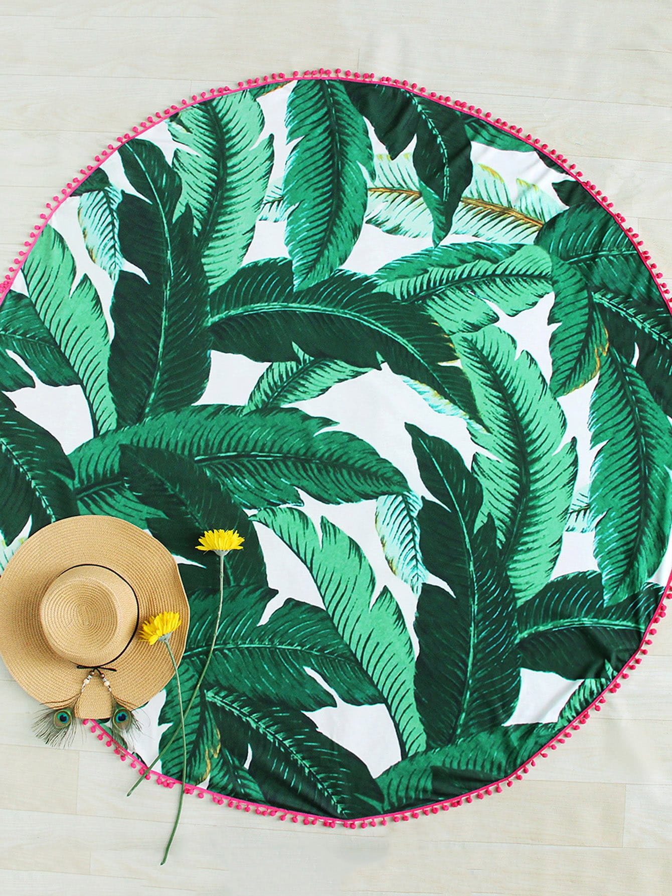 Pom Pom Edge Palm Leaf Print Beach Roundie pom pom ball applique rabbit print pullover