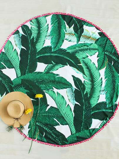 Pom Pom Edge Palm Leaf Print Beach Roundie
