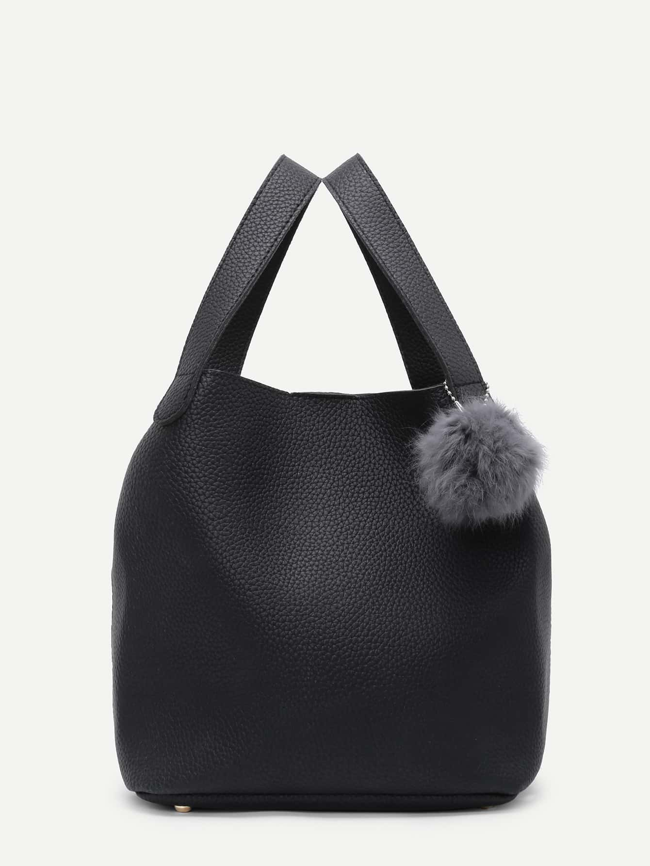 Faux Fur Ball Detail Bucket Bag