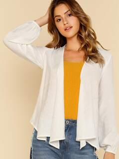 Bishop Sleeve Open Front Top WHITE