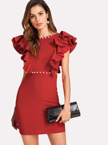 Pearl And Tiered Ruffle Embellished Dress