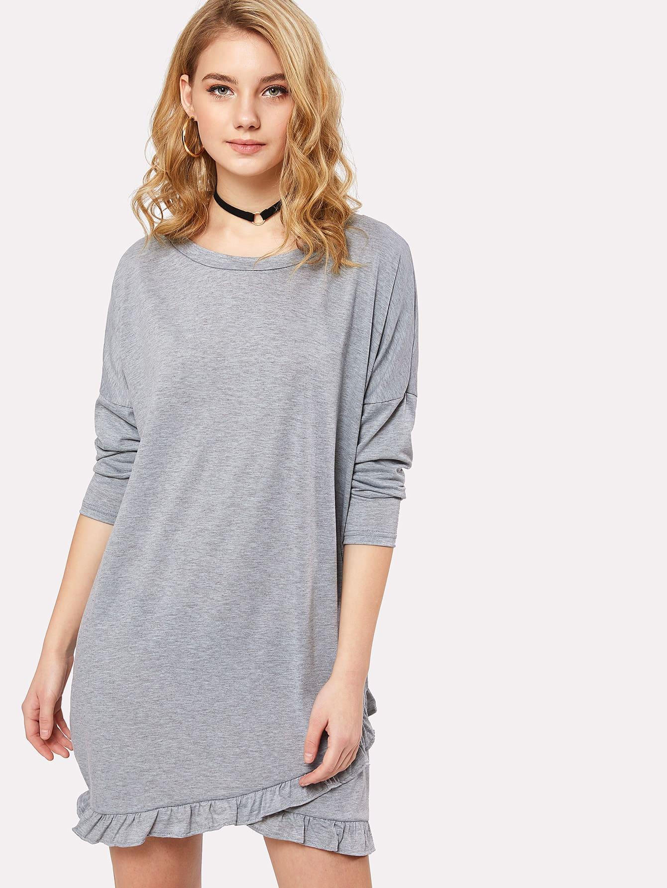 Drop Shoulder Ruffle Trim Marled Dress drop shoulder marled sweatshirt dress with corset belt