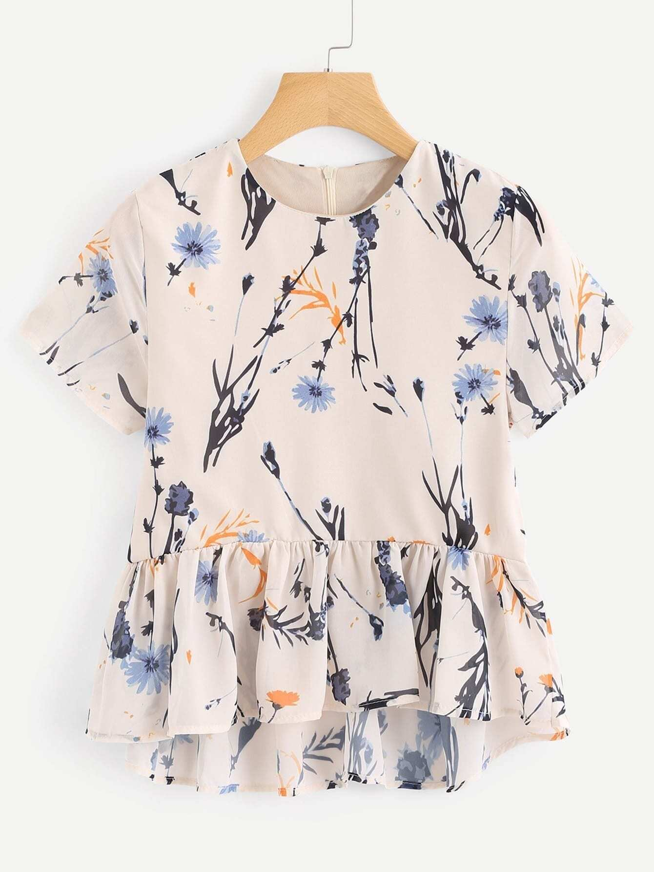 Botanical Print Ruffle Hem Blouse original romoss sense4 dual usb 10400mah power bank