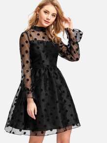Polka Dot Organza Overlay Fit & Flare Dress