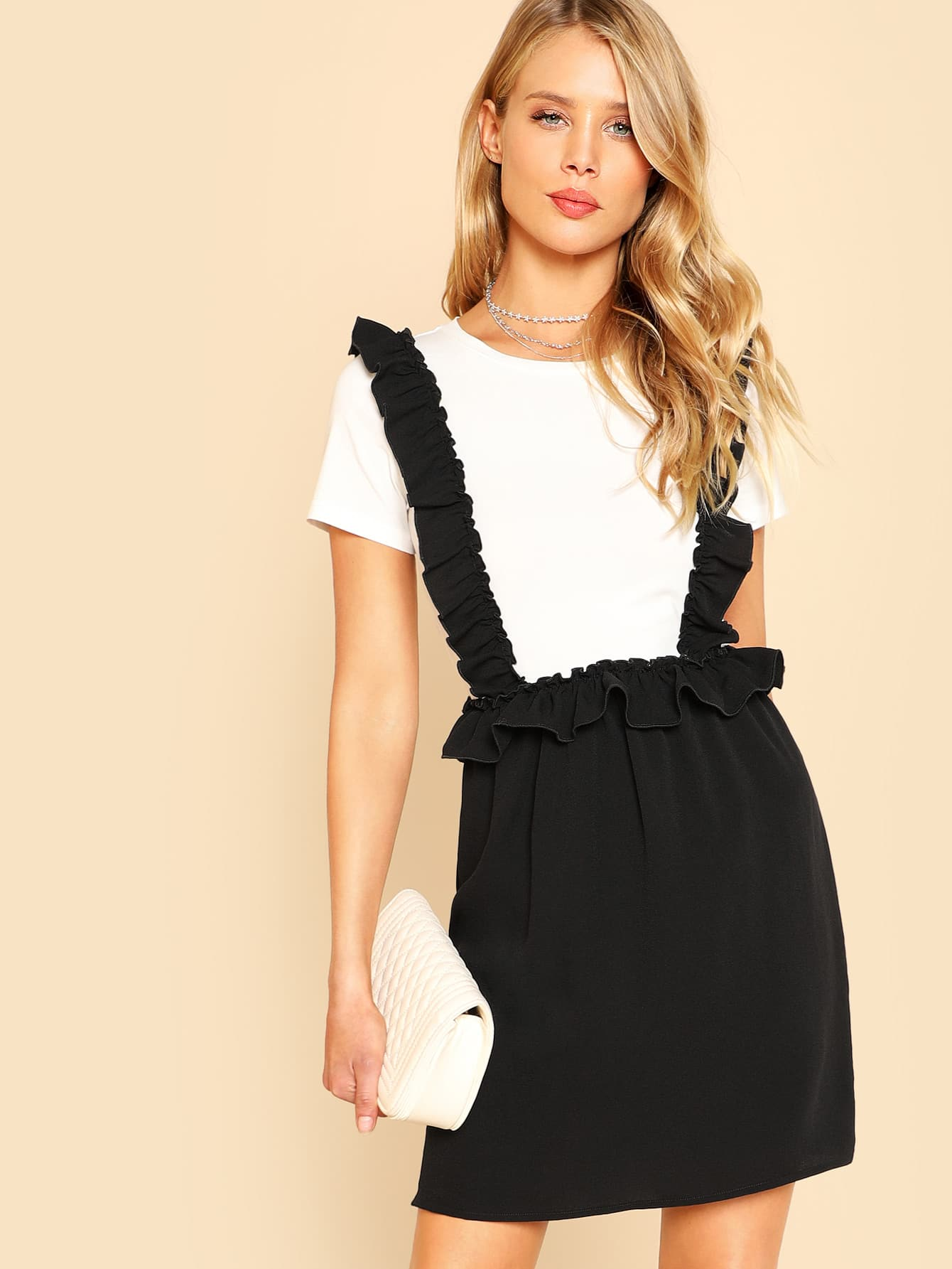 Two Tone Ruffle Embellished 2 In 1 Dress drop crotch loose two tone pants