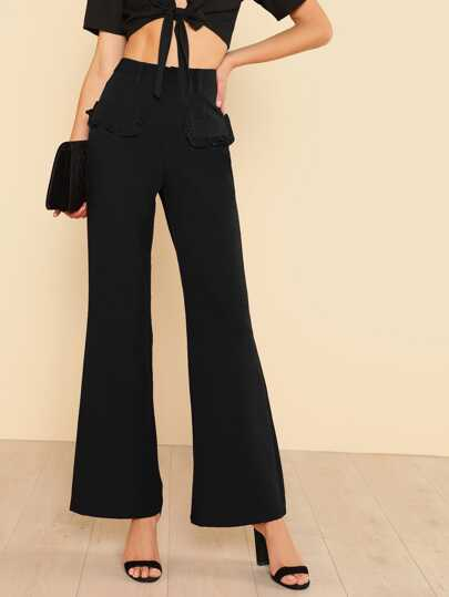 Frilled Faux Pocket Detail Pants