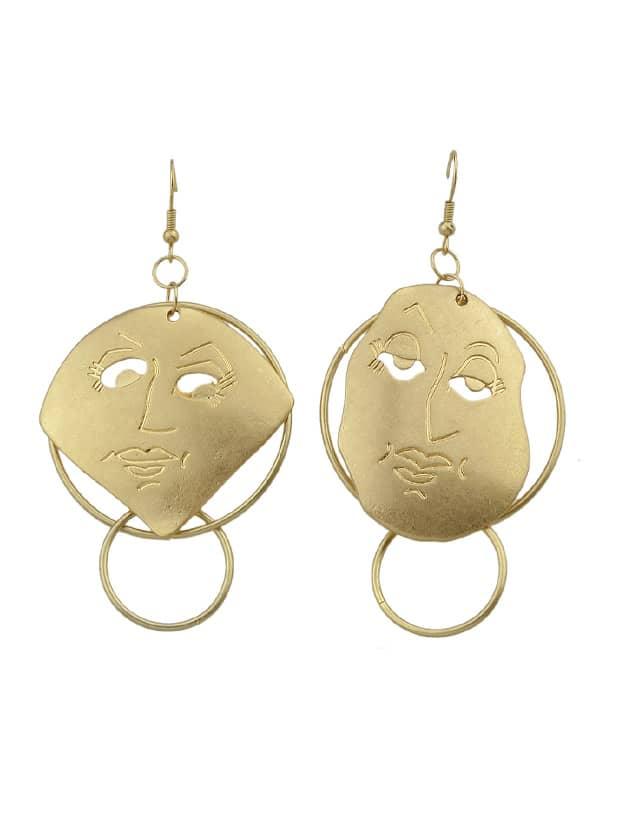 Face Simple Drop Earrings two tone face design drop earrings