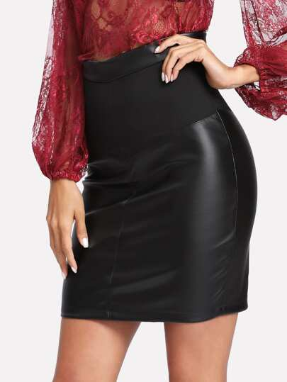Mixed Media Zip Back PU Bodycon Skirt