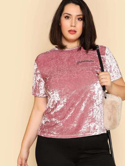 Letter Embroidered Crushed Velvet Tee