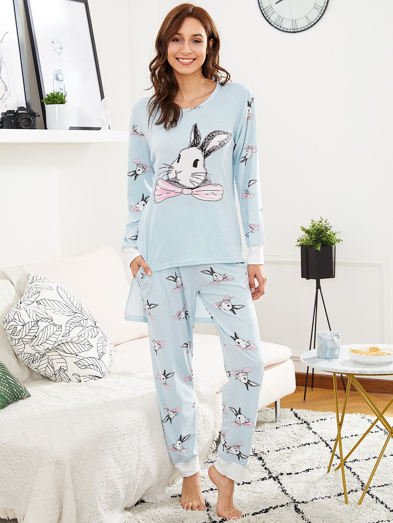 Rabbit Print Pinstriped Tee & Pants PJ Set rabbit print pullover