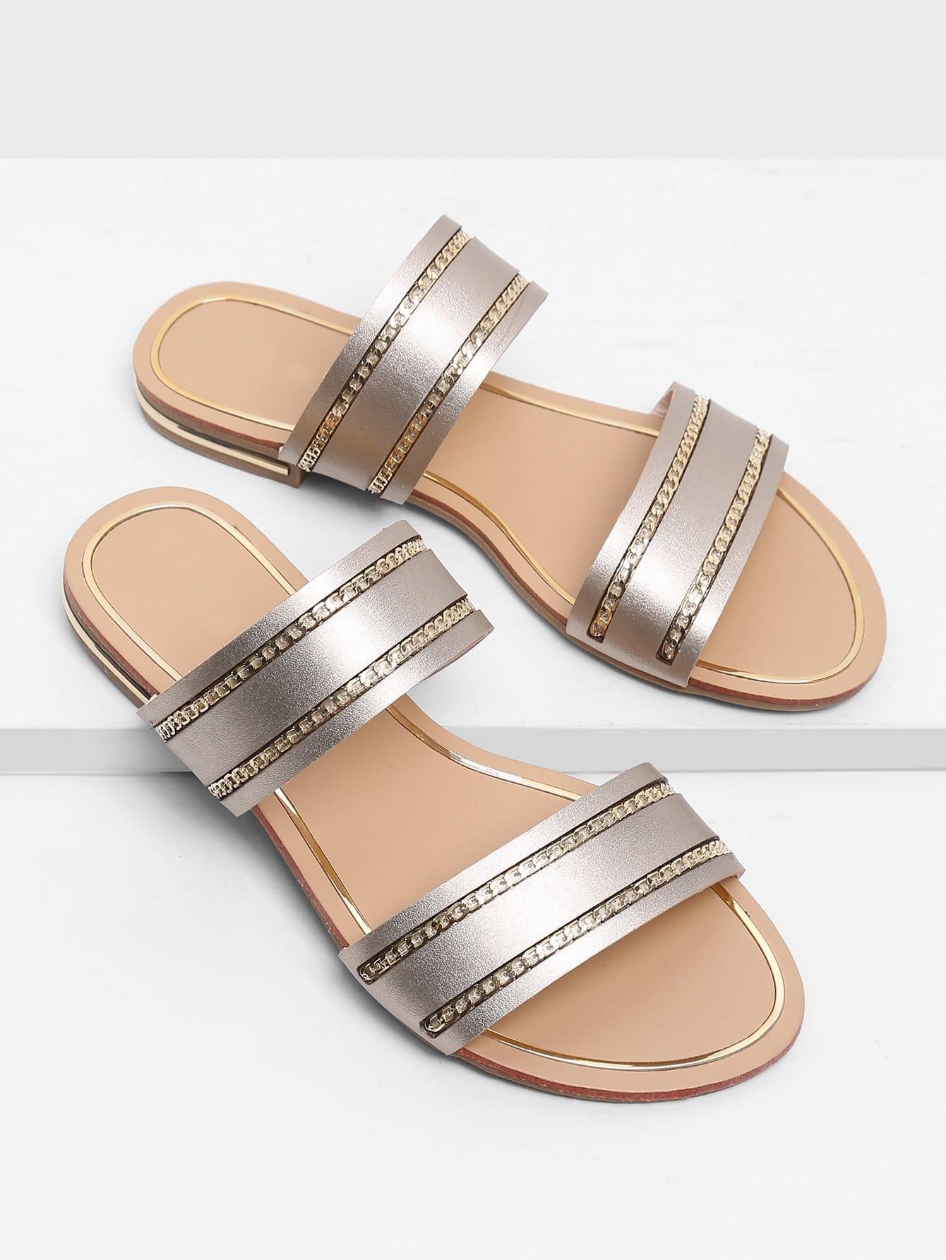 Chain Detail Duo Strap Sandals