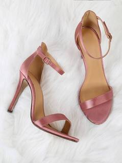 Adjustable Ankle Strap Satin Stiletto Heel MAUVE