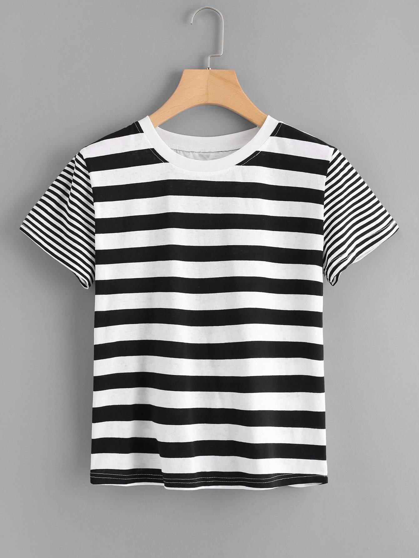 Two Tone Mixed Stripe T-shirt tree print asymmetric two tone t shirt