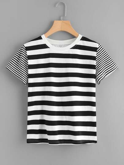 Two Tone Mixed Stripe T-shirt