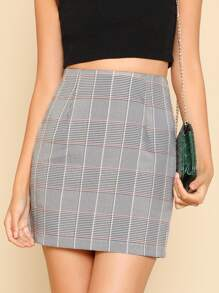 Zipper Hidden Plaid Skirt
