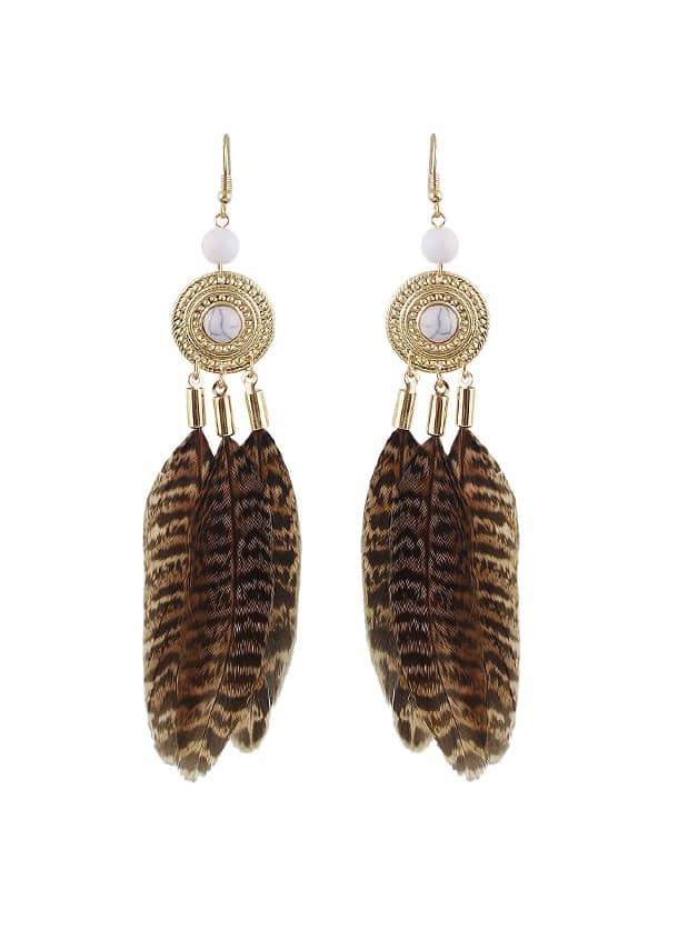 Leopard Feather Dangle Earrings