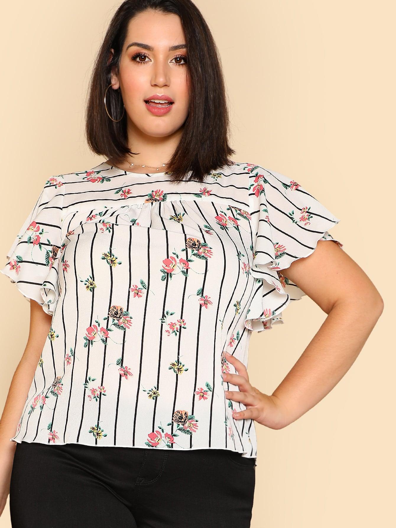 Купить Модный топ в полоску с цветочным принтом, Jessica Lauren, SheIn