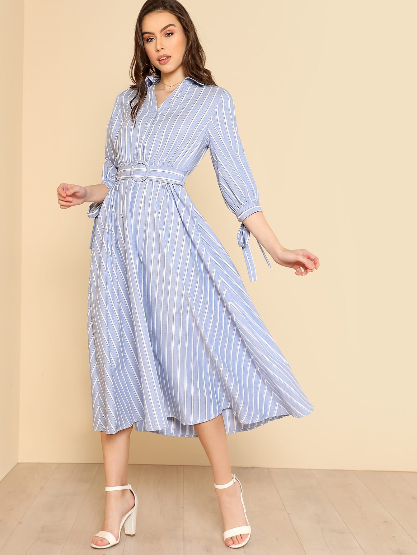 Bow Tied Cuff Striped Shirt Dress contrast collar bow tied detail striped dress