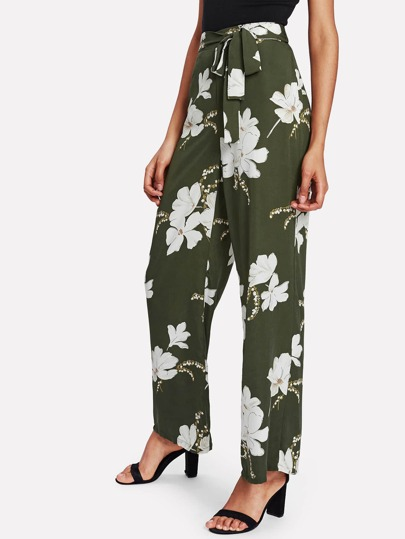 Flower Print Wide Leg Pants