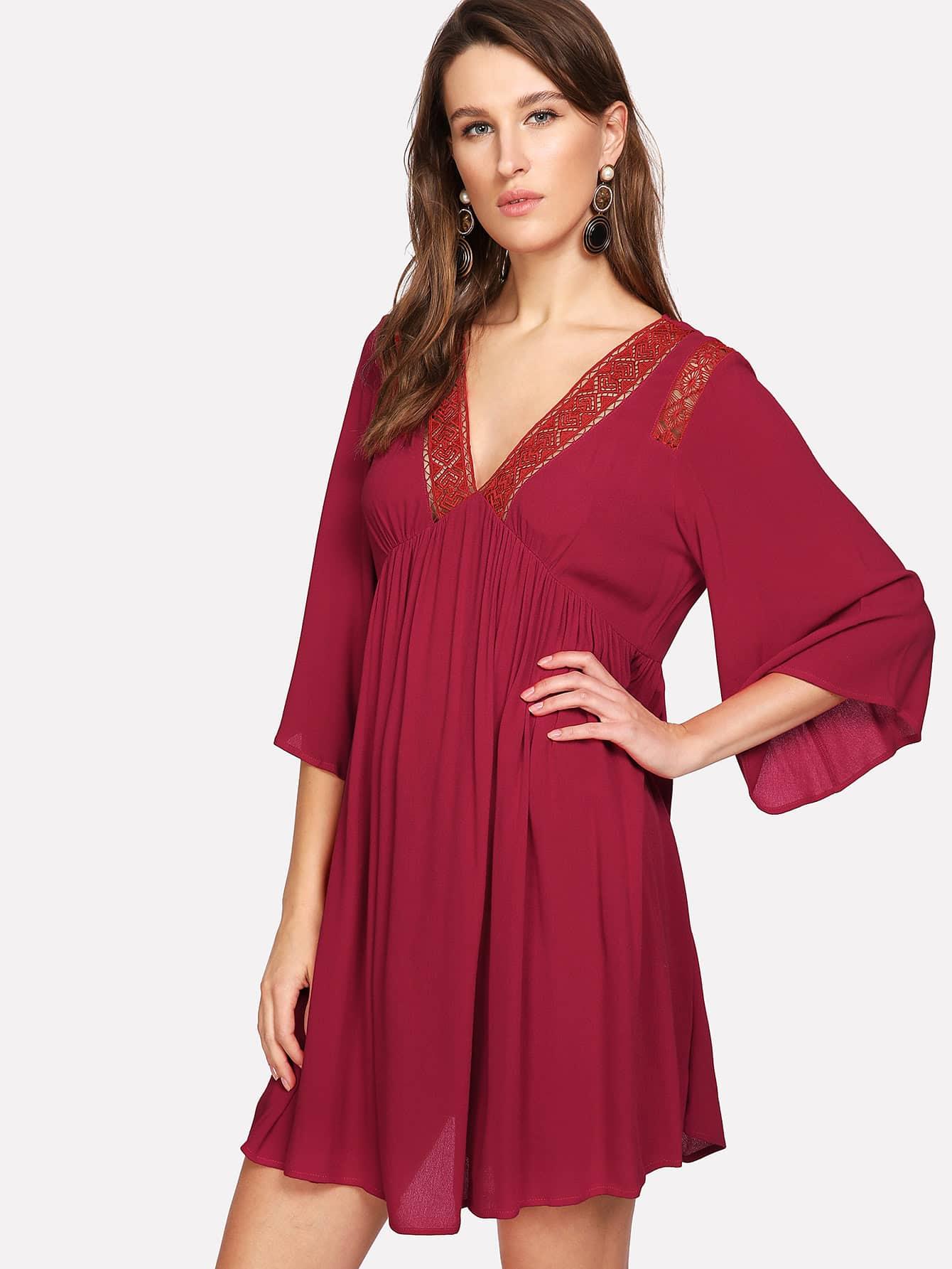 Lace Insert Empire Waist Swing Dress lace velvet swing dress