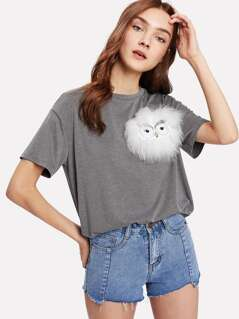 Faux Fur Owl Applique Heathered T-shirt