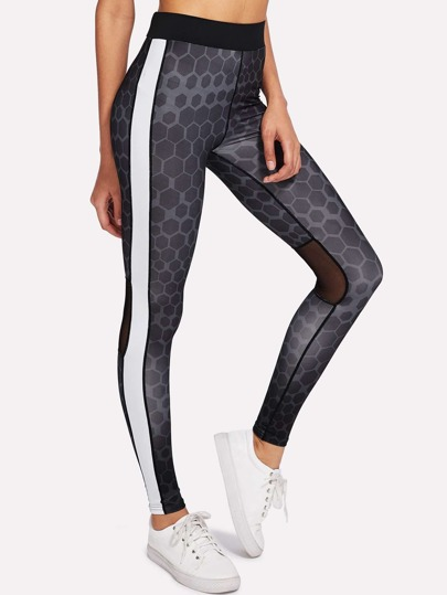 Mesh Panel Geo Print Leggings