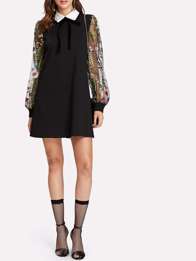 Contrast Collar Floral Mesh Sleeve Dress