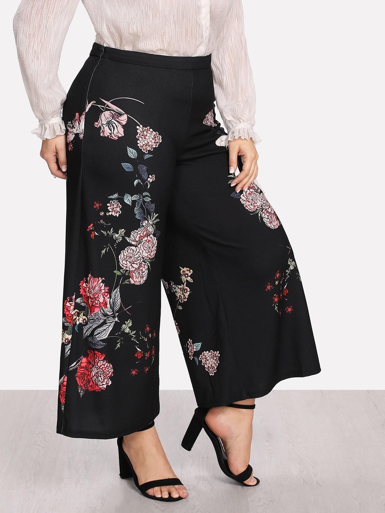 Купить Модные широкие брюки с принтом, Franziska, SheIn