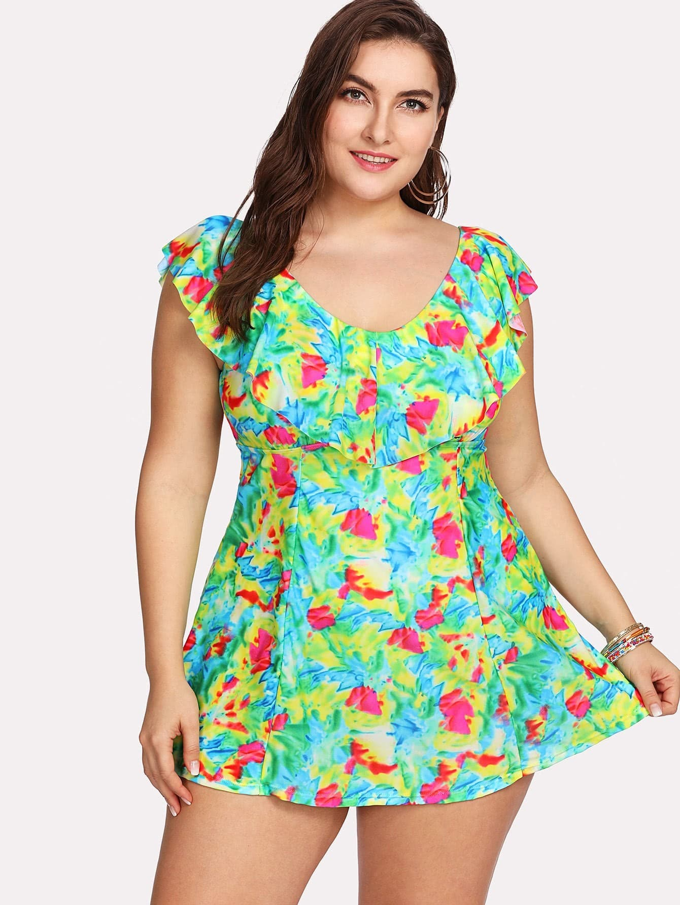 Colorblock Flounce Swim Dress Set