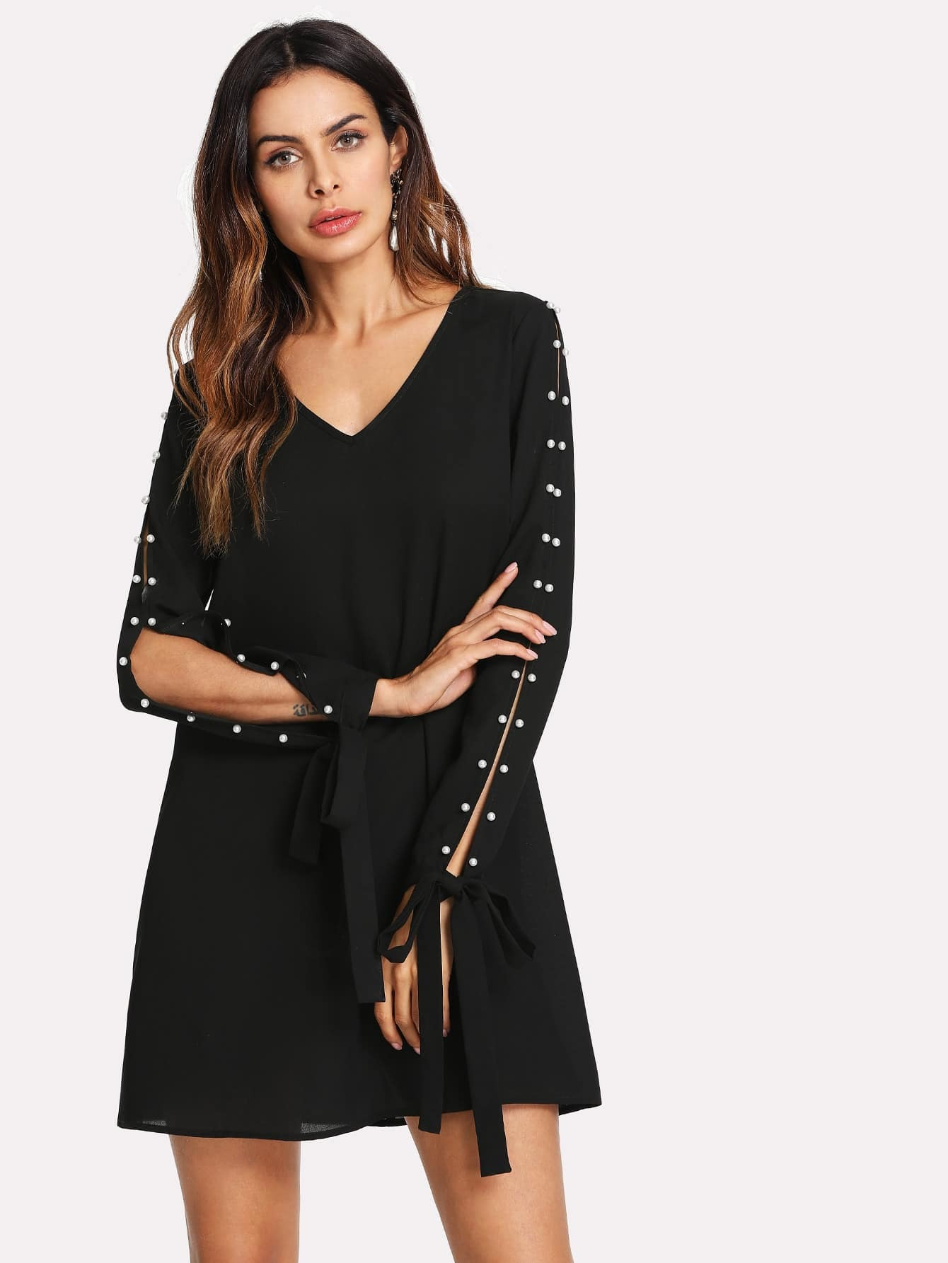Pearl Detail Split Sleeve Knot Cuff Dress frill layered pearl detail sweatshirt dress