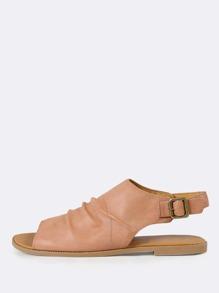 Open Toe Ruched Slingback Sandal DUSTY BLUSH
