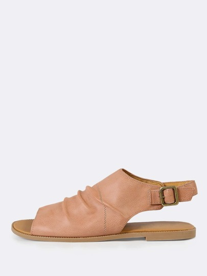 Open Toe Ruched Slingback Sandal DUSTY BLUSH