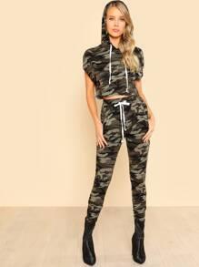 Camo Crop Hoodie Tee & Skinny Sweatpants Set