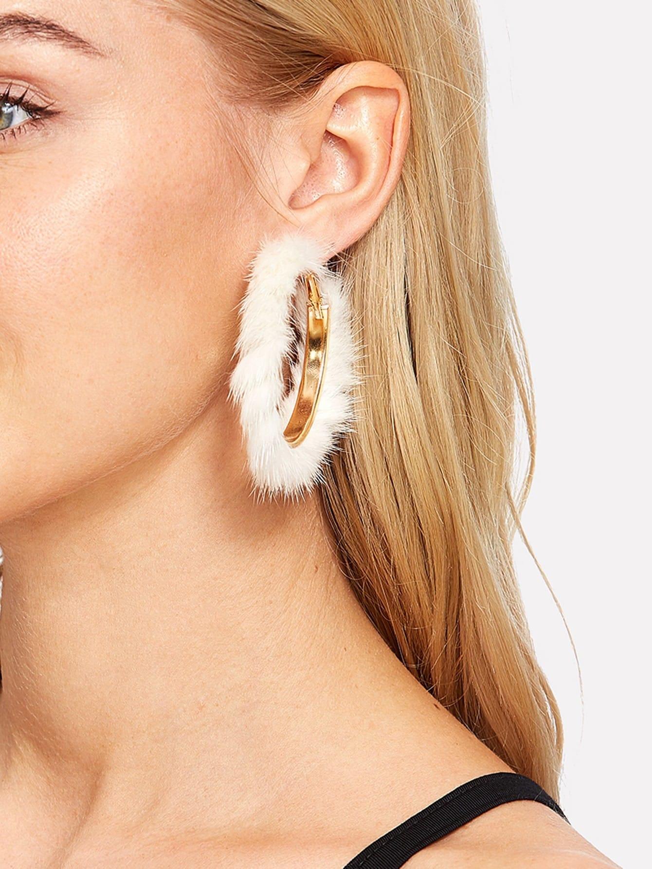 Faux Fur Overlay Hoop Earrings faux fur overlay heart stud earrings