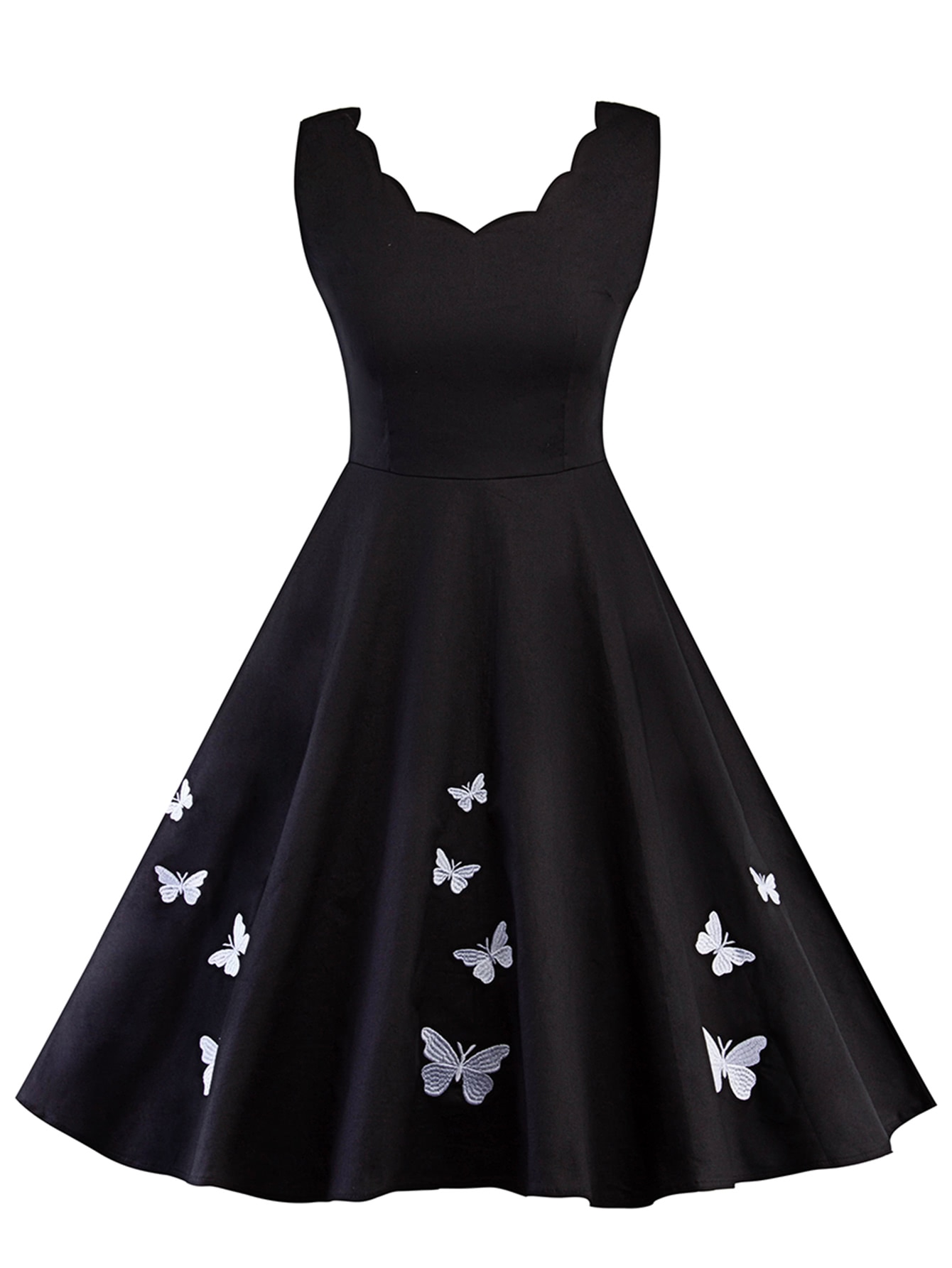 Scallop edge butterfly embroidered circle dress shein