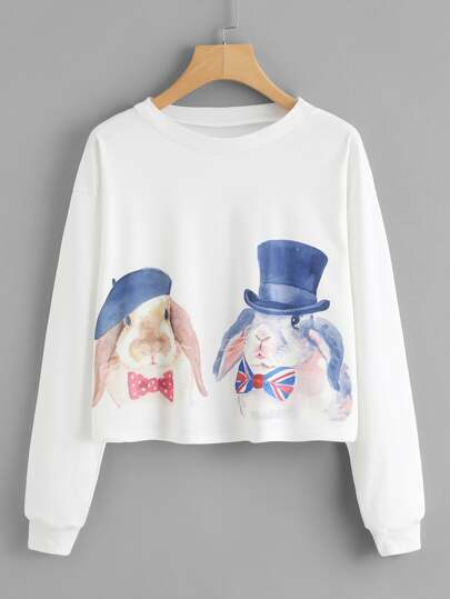 Watercolor Rabbit Print Crop Sweatshirt